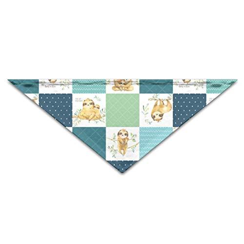 Sloth Cheater Quilt – Patchwork Blanket Baby Boy Bedding, Teal Blue Green Puppy Dog Cat Pet Scarf 11.8x27.5 Inchs Dog Bandanas