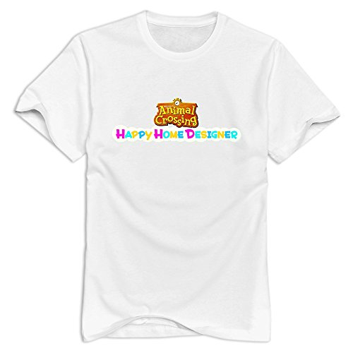 Animal Crossing:Happy Home Designer Logo Classic 100% Cotton White Shirt For Mens Size L