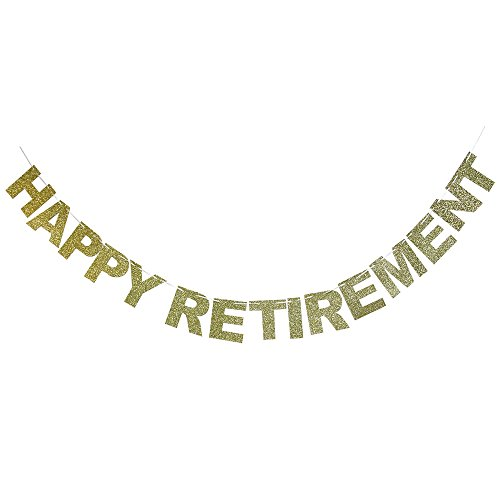 Gold Glitter Happy Retirement Banner - Gifts and Decorations Party (Happy Retirement Sign)