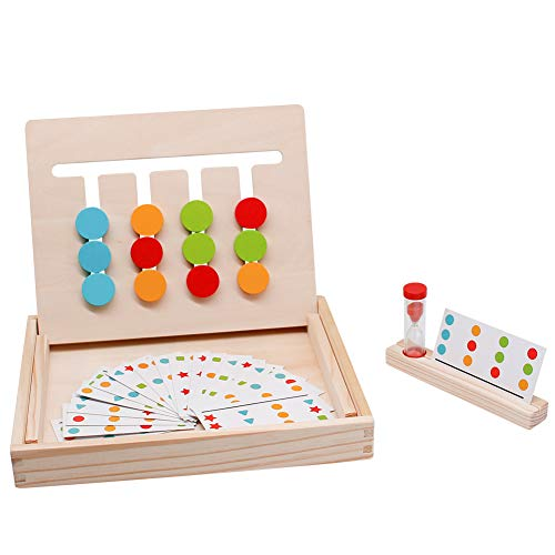 (Fajiabao Montessori Toys Logic Games Slide Puzzle Matching Game Maze Toy Wooden Preschool Learning Early Education Shape Color Recognition Gift for Toddlers Kids Boys Girls Child)