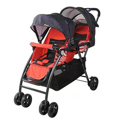 Double Stroller, Twin Tandem Baby Stroller, 3 Points Safety Belts, Foldable Design for Easy Transportation (Color : Red)