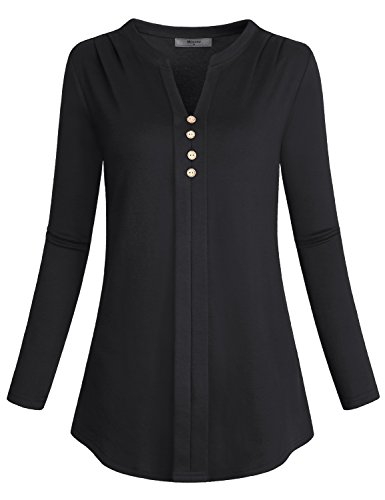Shirred Front Shirt - Miusey Long Sleeve Tunics For Women To Wear With Leggings, Ladies Notch Neck Tee Pleat Button Front Shoulder Flowy Blouses Ruched Loose Fitting Tops Shirred Knit Casual Henley Shirt Cotton Black M