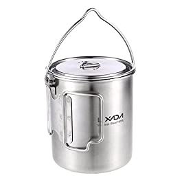 Lixada Camping Cup Pot with Foldable Handles and Lid – Ultralight Titanium&Stainless Steel Designed for Outdoor Camping…