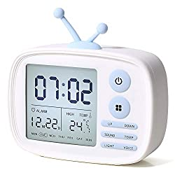 Kids Alarm Clocks, LED Digital Alarm Clock for Heavy Sleepers, Bedrooms Home Kitchen Kids Teens Girls Boys Gifts, Wake Up Light, 5 Loud Alarm, Temperature Display, USB Charger, Battery Operated (White