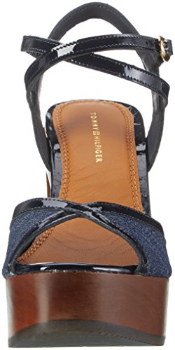 Tommy Hilfiger P1285aige 1c1, Sandalias con Cuña para Mujer Azul (Denim 404)