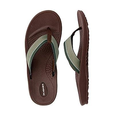 Okabashi Men's Canvas Indigo Classic Flip Flop Sandal Shoes