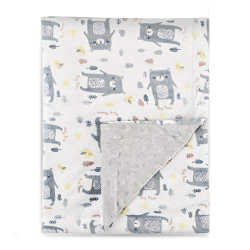 Boritar Baby Blanket Soft Minky with Double Layer Dotted Backing, Lovely Grey Bear Printed 30