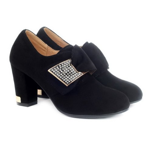 Black Frosted Suede with Closed Solid Diamond Toe Fabric Pumps Glass Heel AmoonyFashion Round Womens High 6Bqn6gx