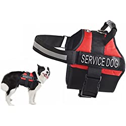 EXPAWLORER Anti Anxiety Stress Relief Service Dog Harness, Training Reflective Calming Adjustable Vest Harnesses Red Small