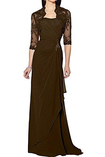Lang Spitze Damen Elegant Marie Etuikleider Schokobraun Abendkleider Festlichkleider Langarm La Braut Brautmutterkleider xnWvBcaRwR