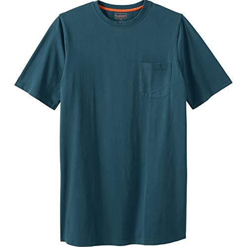 Boulder Creek Men's Big & Tall Heavyweight Longer-Length Pocket Crewneck T-Shirt, Blue Indigo Pigment Big-7XL
