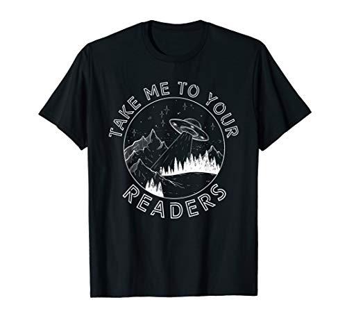 Alien Reading English Teacher Library Alien Space T-Shirt