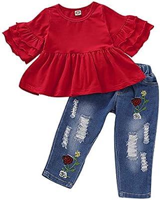 3PCS Infant Kids Baby Girl Off Shoulder Top+Denim Pants Jeans Clothes Outfit Set