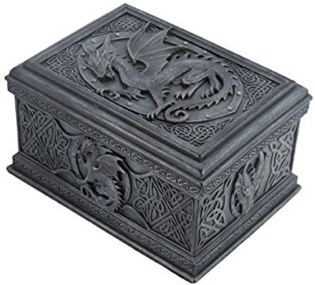 5.75 Inch Celtic Dragon Textured Decorative Trinket Box, - Trinket Box Stone