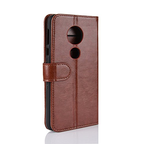 Cover Card Protective Phone Handmade Slots G6 ID Leather Brown Wallet Flip Credit Retro Case Case PU G6 Retro Motorola Holder Moto Brown for HualuBro with Moto pwfqav7a
