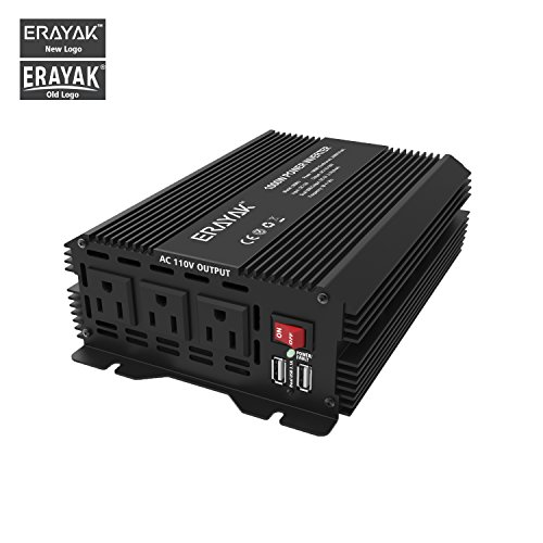 Erayak 1000W Power Inverter Dc 12V To 110V 3 Ac Outlets With 3 1A Dual Usb Ports Modified Sine Wave Converter For Home Office Car Travel
