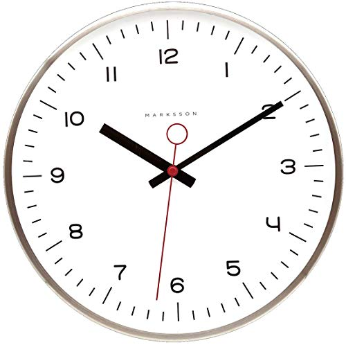 Marksson The Crosby Stainless Steel Wall Clock Silent Non-Ticking Wall Clock, 12