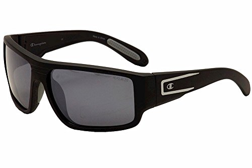 Champion Men's Matte Black polycarbonate Rectangular - Sunglass Champion