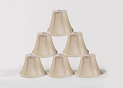 "Wellmet Set of 6 Small Chandelier Lamp Shades, Natural Linen Drum Shades for Dining Room, Clip on Modern Chandelier Table Lamp, 5.5""x4"""