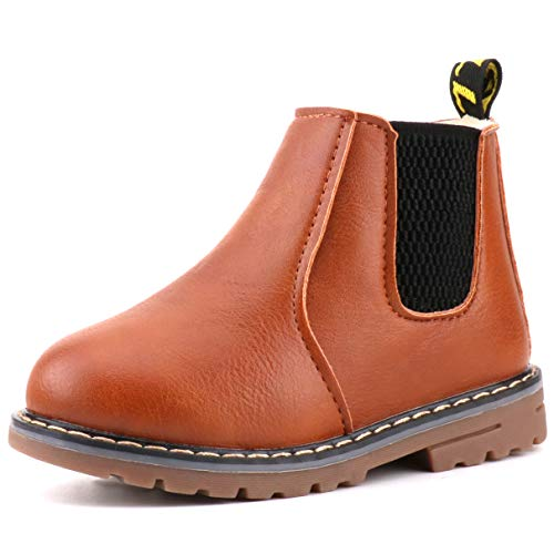 Price comparison product image LONSOEN Boys Girls Waterproof Outdoor Zipper Winter Snow Boots Faux Fur Lined Short Ankle Booties KDB018 Brown CN29