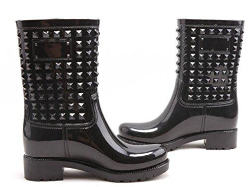 Adult Womens Antiskid Rubber Shoes Rain Boots Black pYG5H