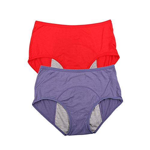Bamboo Viscose Fiber Brief Menstrual Leakproof Panties US Size M/6, Red,Denim (Best Underwear For Incontinences)