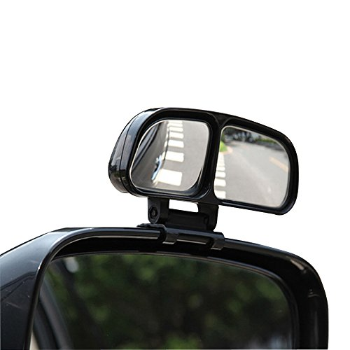 YASOKO Plastic Housing Auto Auxiliary Blind Spot Mirror Car Side-Angle Side-View Double Mirror 1 Piece (Right, Black)