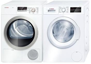 Bosch Front Load Laundry Pair with WAT28400UC 24″ Washer and WTB86201UC 24″ Electric Dryer in White