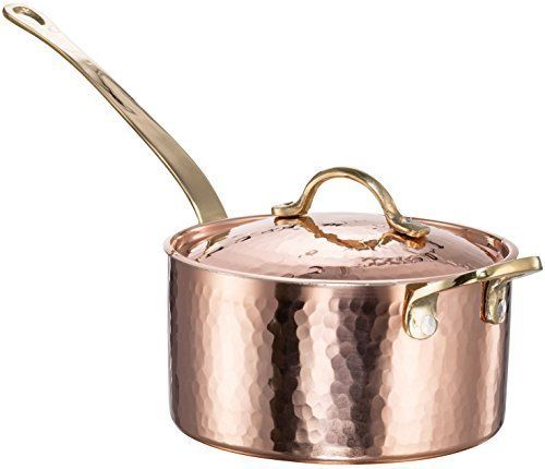 Copper Hammered Cookware (New DEMMEX 1.2MM Thick Hammered Copper Saucepan with Lid & Helper Handle (1.7-Quart))