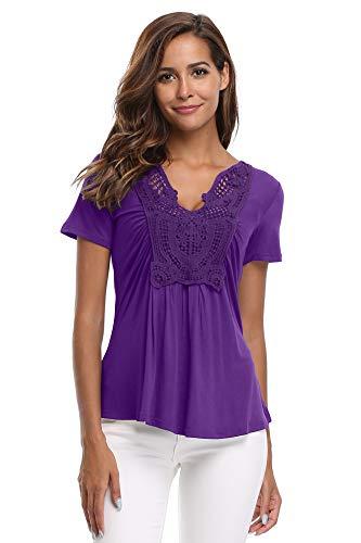 (MISS MOLY Summer Tops for Women Deep V Neck Short Sleeve Tunic Blouse Shirt-Indigo S)