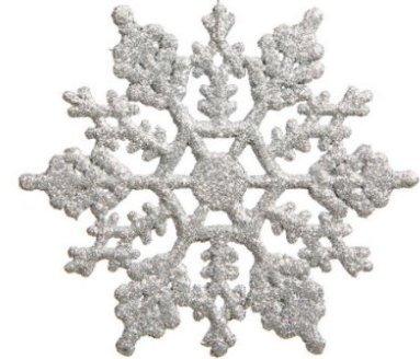 Squishtoy 24 pezzi decorazioni natalizie ciondolo fiocco di neve Glitter fiocco di neve albero di natale decorazioni appese (Argento)