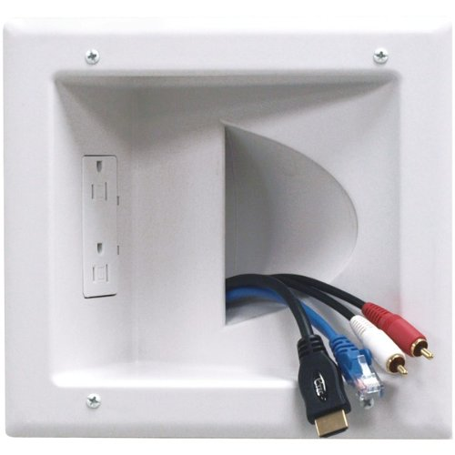 Datacomm 45-0031-WH Recessed Low Voltage Media Plate with Duplex Receptacle, White Portable Consumer Electronics Home Gadget by Portable & Gadgets