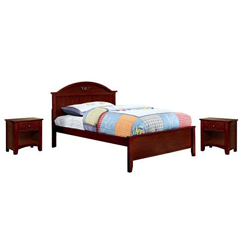 Table Plank Cherry (HOMES: Inside + Out 3 Piece ioHOMES Chesterton Youth Panel Bed Set with Nightstands, Twin, Cherry)