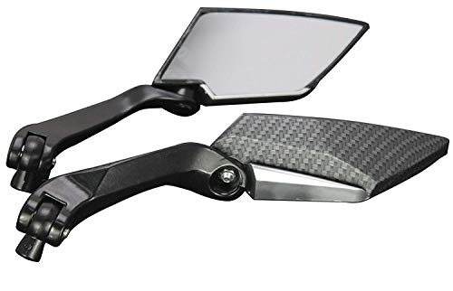 (MotorToGo Black Carbon Mini Rearview Mirrors for 2002 Yamaha Road Star XV1700PC Warrior)