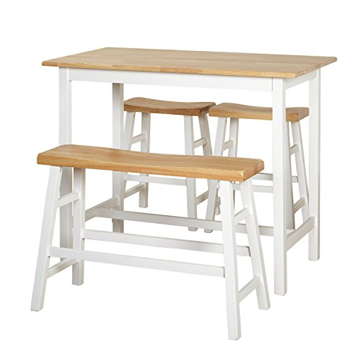 - Target Marketing Systems 64414WHT Galena Counter Height Set (4-Piece), Natural/White
