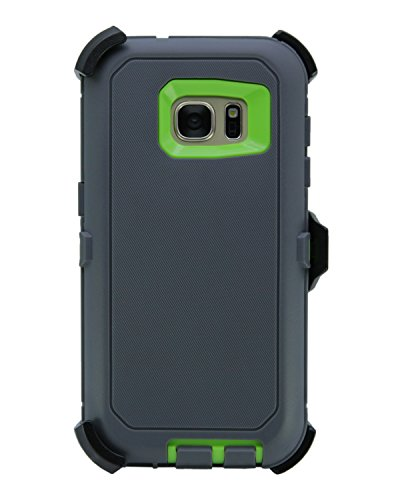WallSkiN Turtle Series Cases for Samsung Galaxy S7 (Only) Tough Protection with Kickstand & Holster - The Oxbow (Dark Grey/Green)
