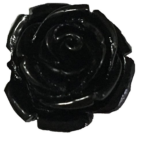 Designs by DH Paper Small Plastic Rose Flower Lapel Pin Boutonniere Brooch [ Everyday/Weddings/Formal ] 1 pc (Black)