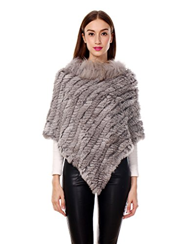 Ferand Women's Winter Elegant Knitted Rabbit Fur Poncho Cape With Warm Raccoon Fur Collar With Asymmetrical Hem, One Size, Natural (Winter Rabbit)