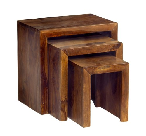 CUBE NEST OF 3 TABLES SHEESHAM ROSEWOOD INDIAN FURNITURE Amazon.co.uk  Kitchen & Home