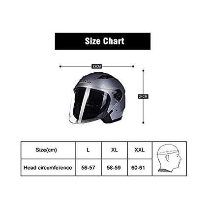 XL Folconauto Casque de Scooter Moto Gris Casque de Moto Crash Jet Open Face