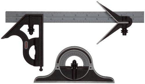 Starrett C9–12–4R Kombination-Set, mit Köpfen aus Gusseisen, Zentrierung, Quadratische und Winkelmesser Köpfen, schwarzes Schrumpf-Finish, Satin- Chrom-Klinge, 30,5 cm, 4r-Grad