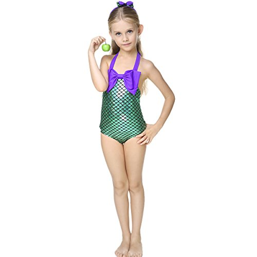 [Little Girls swimsuits for girl one piece Mermaid Princess Toddler Bikini Swim Bathing] (Swimming Costume For Womens)