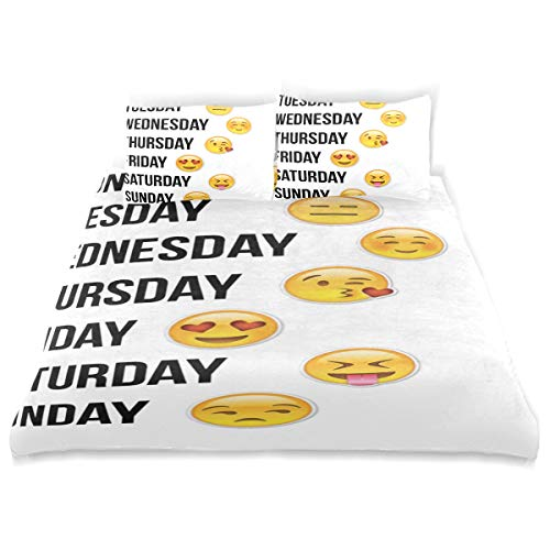Cute Emoji for A Note Book Comforter Cover Quilt Set with 2 Pillowcase Microfiber Soft Twin Size Bed Set 66