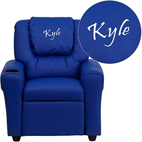 Embroidered Kids Recliner - Flash Furniture Personalized Blue Vinyl Kids Recliner with Cup Holder and Headrest