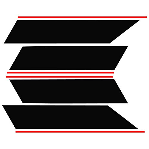 (Tower Decals Two Color Fender Hash with Pin Stripes Fits Camaro Grand Sport Matte Black with Red Pin Stripes)
