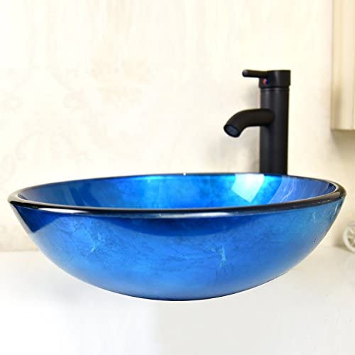 Sliverylake Loyal Blue Artistic Bathroom Tempered Glass Vessel Sink Combo with Oil Rubbed Bronze Faucet Pop Up drain