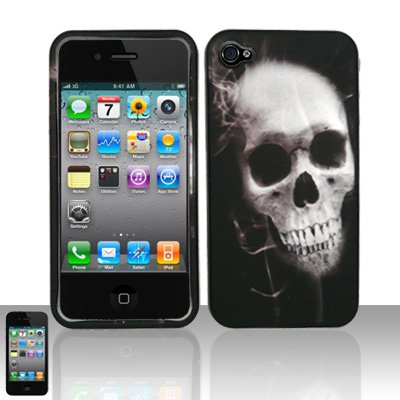 X-Ray Skull Design Rubberized Snap on Hard Cover Protector Faceplate Skin Case for Apple Iphone 4 4G 16GB 32GB + Front & Back LCD Screen Guard Film (Free Wristband)
