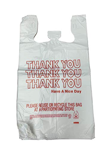 - HDPE Handled Plastic T-Shirt Bags, Grocery Bags, White with