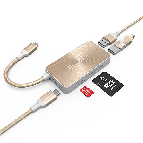 USB C Hub, Adam Elements 5 in 1 Aluminum Multi Port Adapter Type C Combo, Pass Through Charging Adapter, 2 USB 3.0 Ports, SD/Micro Card Reader Compatible for Mac, Windows, Chromebook (Gold)