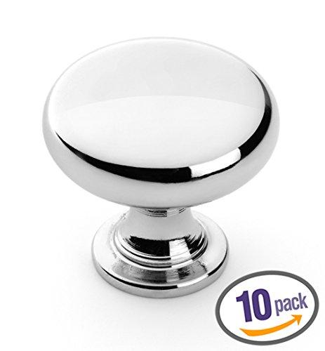 Dynasty Hardware K-3910-26-10PK Mushroom Cabinet Hardware Knob, Polished Chrome, 10-Pack